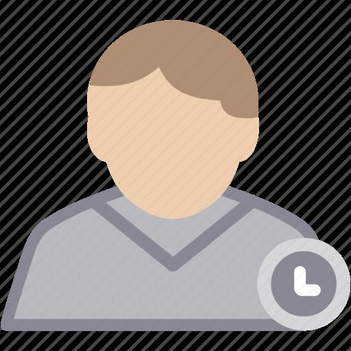 clock, male, man, person, profile, user icon