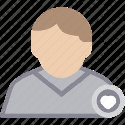 heart, male, man, person, profile, user icon