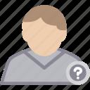 mark, question, user, male, man, person, profile