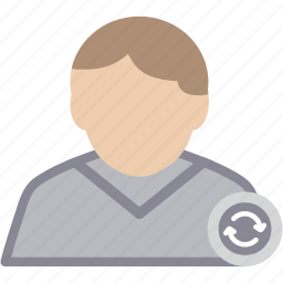 male, man, person, profile, refresh, user icon