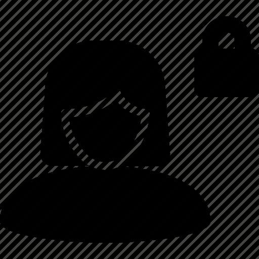 account, avatar, lock, male, private, profile, woman icon