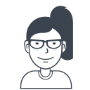 avatar, female, girl, glasses, person, user icon