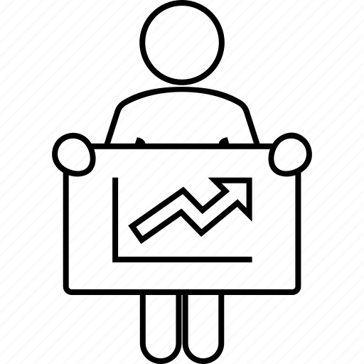 board, graphic, growing, man, success, up icon