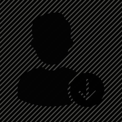 admin, down, download, manager, person, profile, user icon