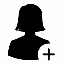 add, avatar, new, plus, silhouette, user, woman icon