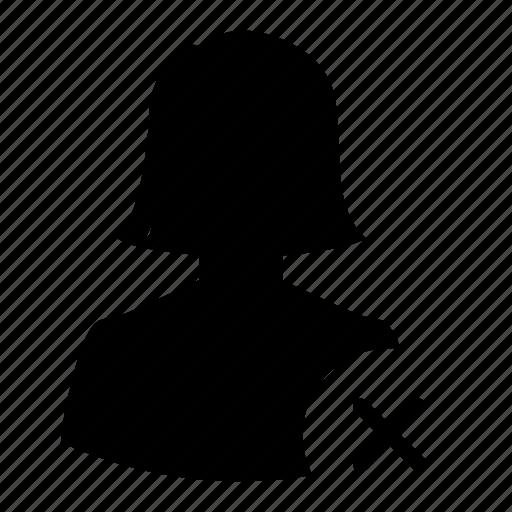 avatar, delete, erase, remove, silhouette, user, woman icon