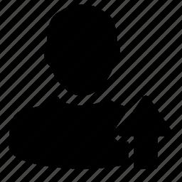arrow, person, profile, up, upload, user icon