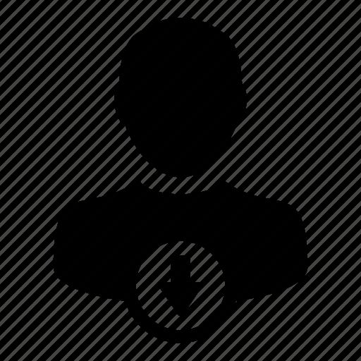 arrow, down, person, profile, user icon