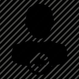 arrow, left, person, profile, user icon