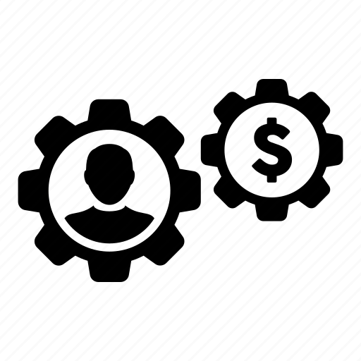 business, dollar, gear, money, user icon