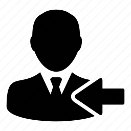 arrow, left, man, previous, user icon