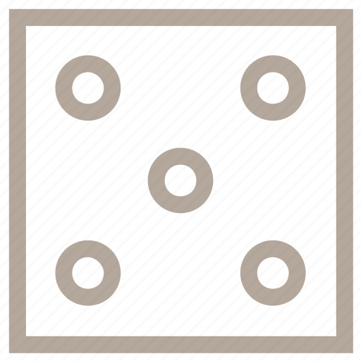 dice, dice game, gambling, number five, poker icon