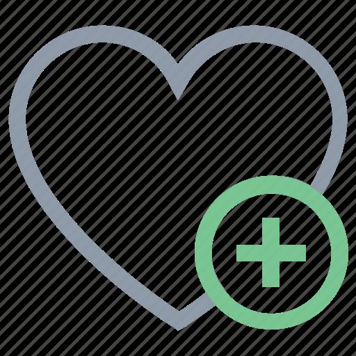 add sign, favorite, heart, love heart, valentine heart icon