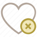 delete sign, favorite, heart, love heart, valentine heart icon