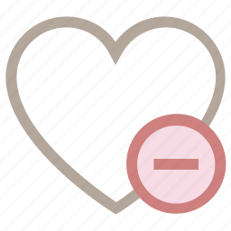 favorite, heart, love heart, remove sign, valentine heart icon