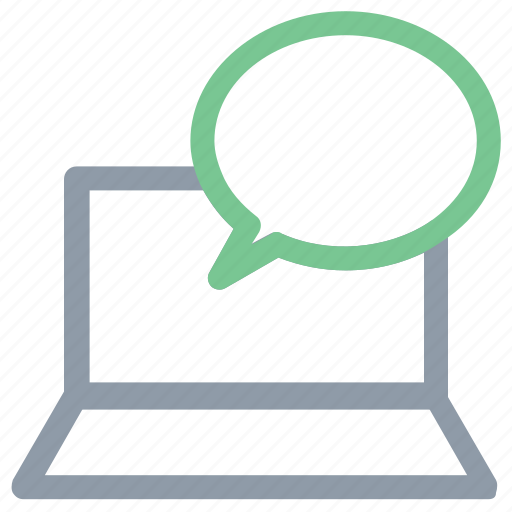 audio chat, laptop, online chat, online communication, speech sign icon