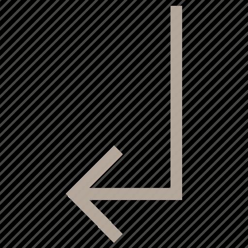 arrow direction, arrow hint, arrow indication, arrow pointer, arrow pointing, arrow turn, directional arrow, down left icon