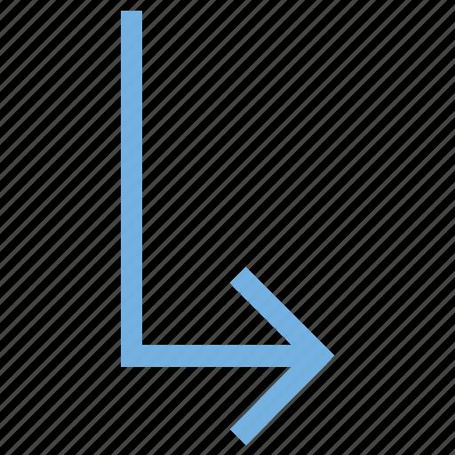 arrow direction, arrow hint, arrow indication, arrow pointer, arrow pointing, arrow turn, directional arrow, down right icon