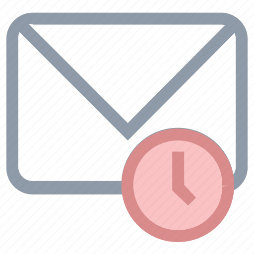 clock sign, correspondence, email, envelope, time to upgrade icon