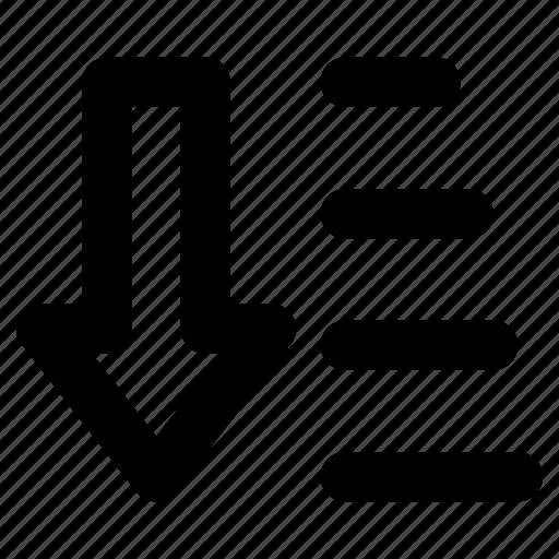 alphabetical order, alphabetize, descending order, descending sorting, sort a list alphabetically icon