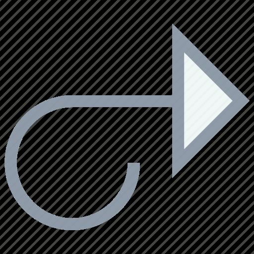 back arrow, curve arrow, curve up right, right arrow, right arrows icon