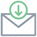 email arrow, incoming email, letter, mail, receive email icon