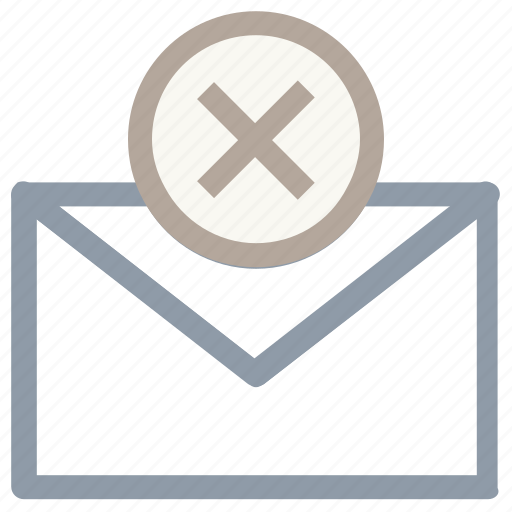 cancel assign, cancel email, cross sign, email, envelope icon