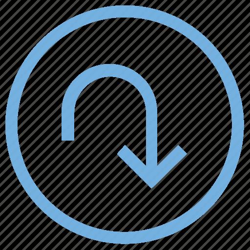 curve, curved arrow down, down arrow, flip page, redo icon