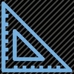architecture, carpenter tool, measure tool, ruler, set square icon