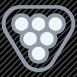 balls racked, billiard, billiard set, pool balls, snooker balls icon