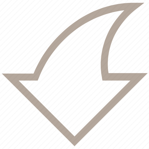 curve, curved arrow down, down arrow, flip page, redo icon