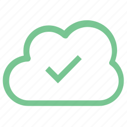 checked, checked cloud, cloud computing, cloud network, portable icon