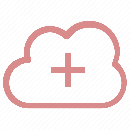 add cloud, add network, add sign, cloud computing, cloud network icon