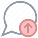 chat balloon, chat bubble, speech balloon, speech bubble, uploading chat icon