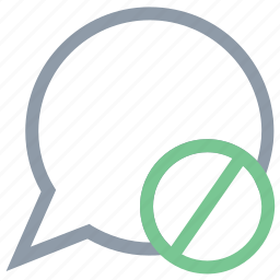 block message, chat off, filter message, mute chat, speech bubble icon