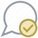 check mark, message read, message seen, message sent, speech bubble icon