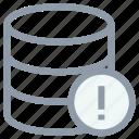 database, database error, database warning, network server, server storage icon