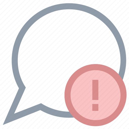 chat balloon, chat error, exclamation mark, message problem, warning icon