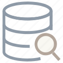 database, magnifier, searching database, searching server, server rack icon