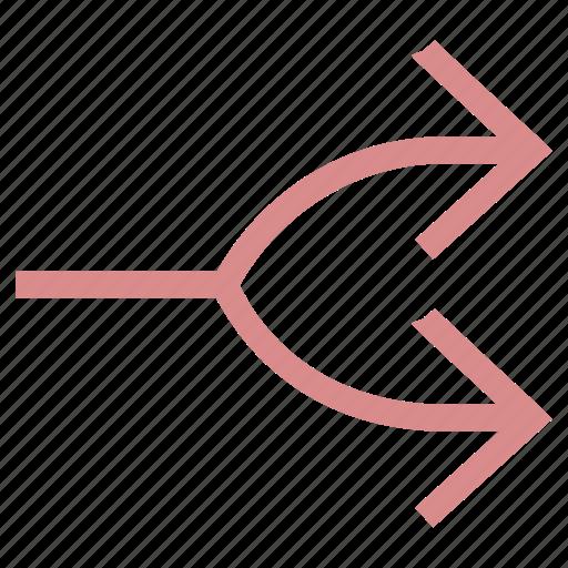 arrow, directional, merge arrow, merge point, pointing arrow icon