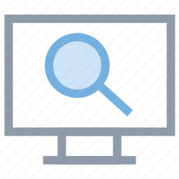 desktop screen, lcd, magnifier, monitor, searching icon
