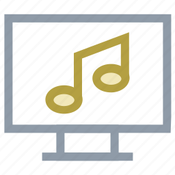 lcd, music, music note, online multimedia, online music icon