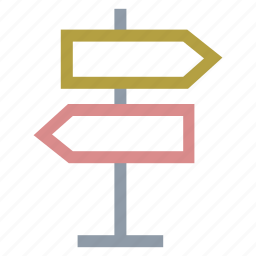 direction arrows, direction post, guidepost, road sign, signpost icon