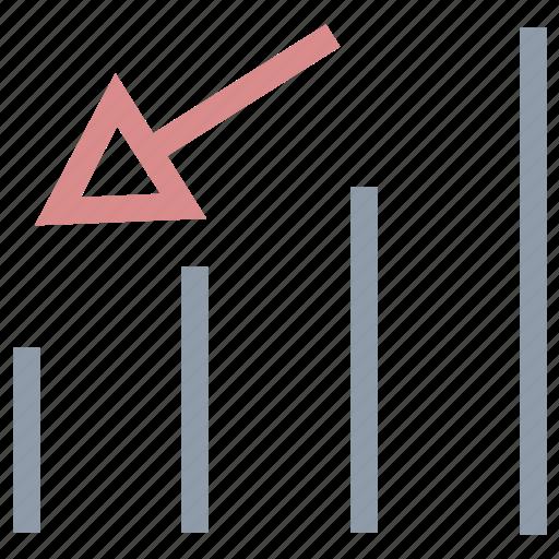 bar chart, declining chart, decreasing chart, infographics, loss chart icon
