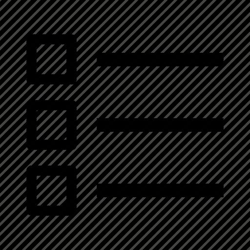 list, menu, options icon
