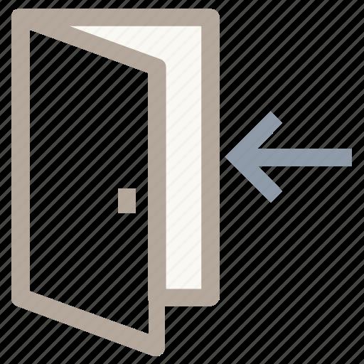 door, entrance, entrance door, indoor, login icon