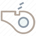 blowing whistle, coach whistle, instrument, sports equipment, whistle icon