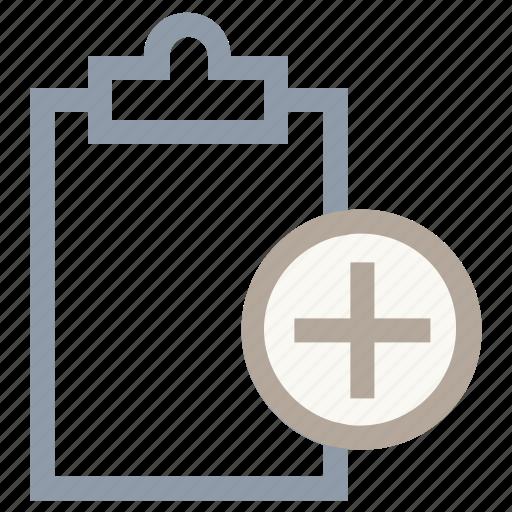 add clipboard, add document, clipboard, memo, plus sign icon