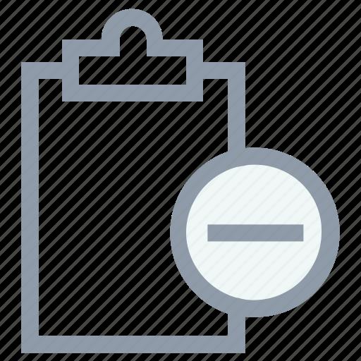 clipboard, memo, plus sign, remove clipboard, remove document icon
