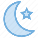 moon, night, night time, star, weather icon